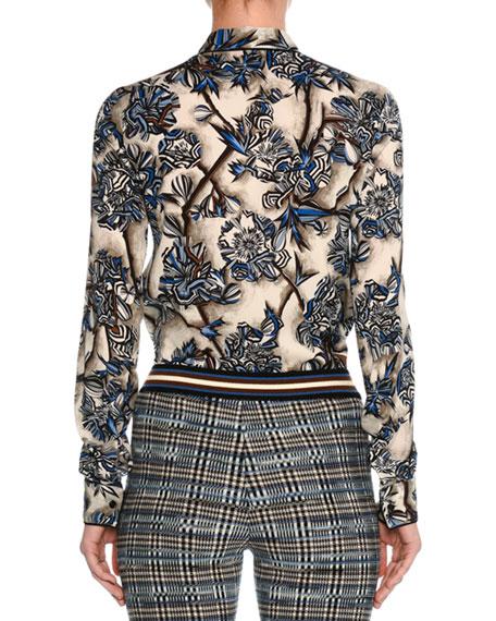 Floral Stretch Silk Shirt, Blue