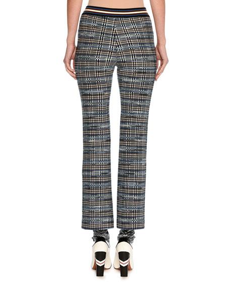 Tartan Jacquard Cropped Kick-Flare Pants, Blue