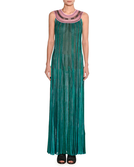 Grecian Lurex® Metallic Knit Gown, Green