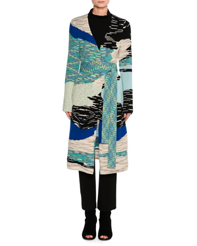 Mixed Intarsia Belted Oversize Cardigan, Blue Flame