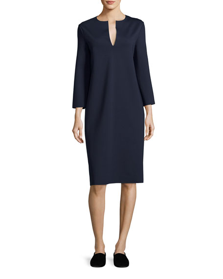 THE ROW Selmac Scuba Caftan Dress, Navy