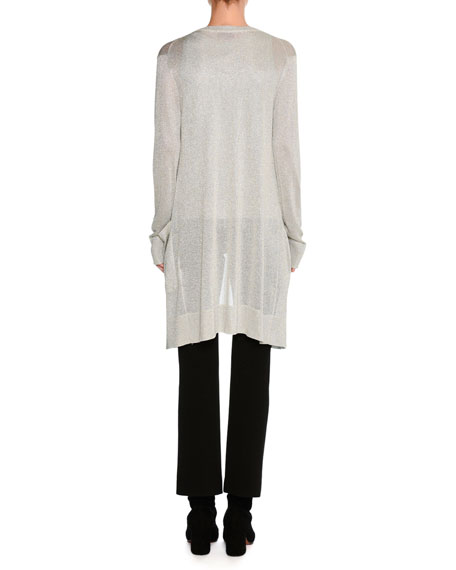 Lurex® Metallic Oversized Open-Front Cardigan