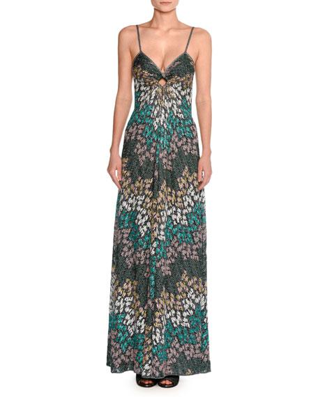 Missoni Lurex® Metallic Sleeveless Keyhole Gown, Green and