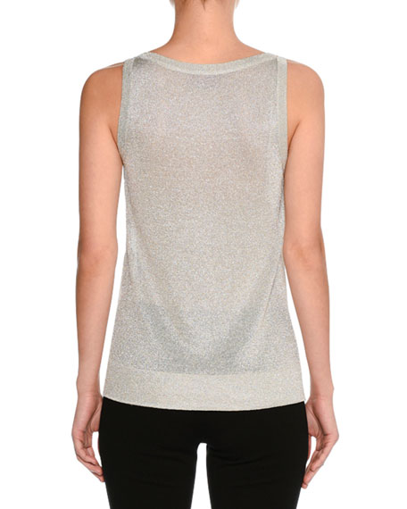 Lurex® Metallic Shell Top, Silver