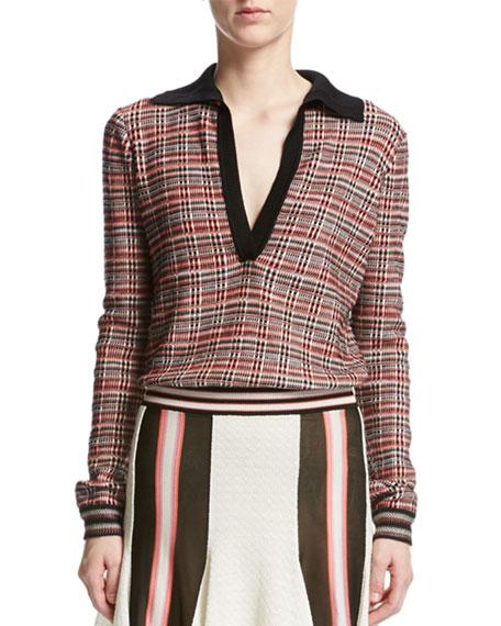 Missoni Plaid Tartan Collared Sweater, Red