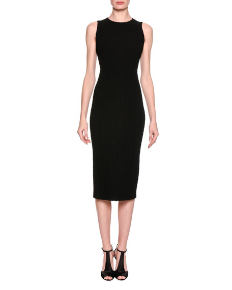 Giorgio Armani Chevron Quilted Sheath Dress, Black and