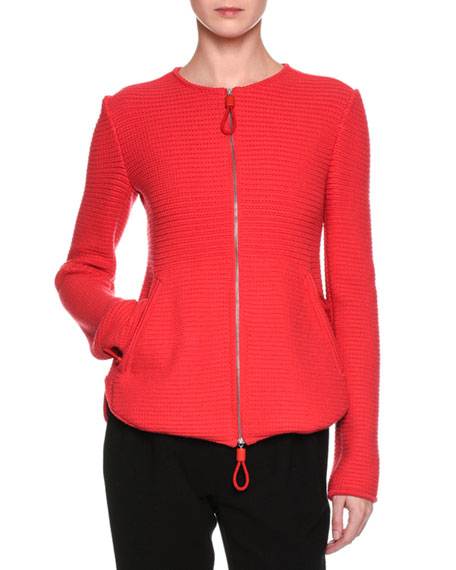 Giorgio Armani Flounce-Back Knit Zip-Front Jacket, Red