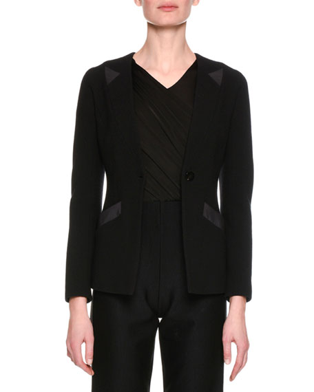 Giorgio Armani Collarless Jersey Single-Button Jacket, Black