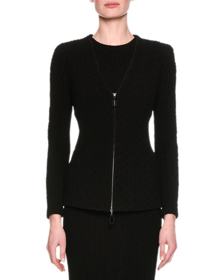 Chevron Knit Zip-Front Jacket, Black