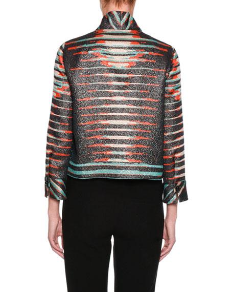 Peruvian-Print Short Jacket, Black