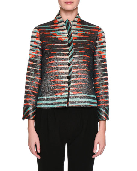 Peruvian-Print Short Jacket, Black