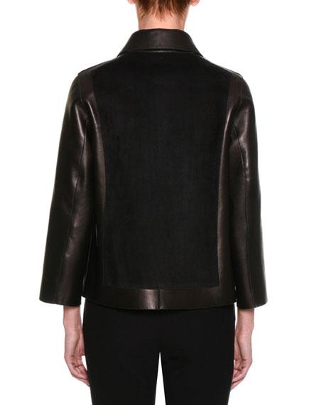 Suede & Leather Easy Jacket, Black