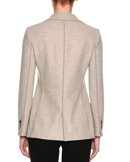 Cashmere Two-Button Blazer, Light Gray