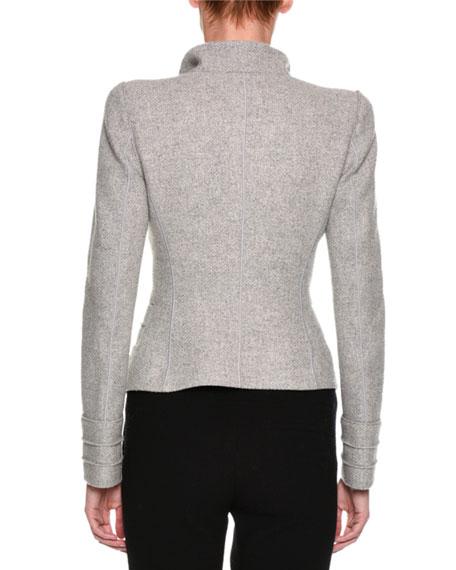 Heathered Asymmetric Button-Front Jacket, Light Gray