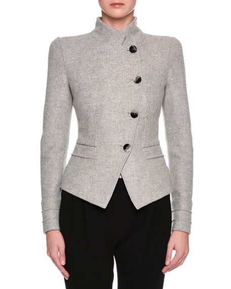 Giorgio Armani Heathered Asymmetric Button-Front Jacket, Light
