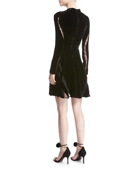 Long-Sleeve Lace-Inset Velvet Cocktail Dress, Black