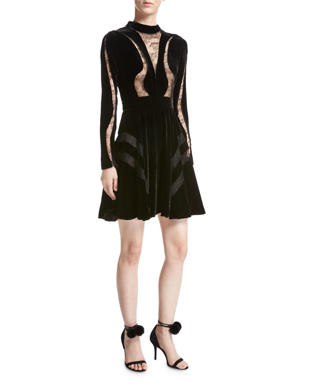 ac59e05861c Elie Saab Long-Sleeve Lace-Inset Velvet Cocktail Dress