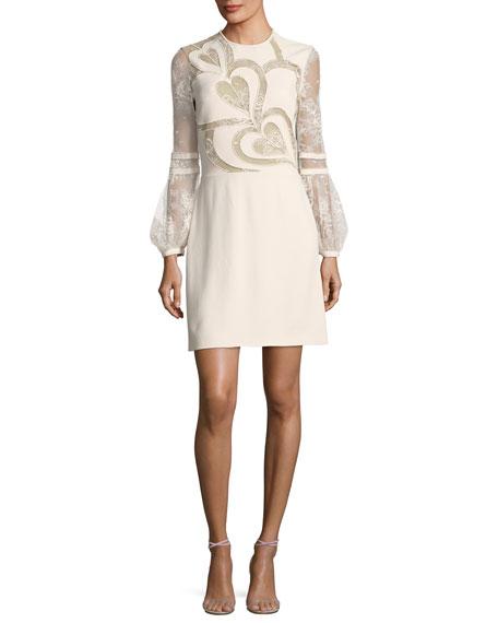 Elie Saab Heart Crepe & Lace Minidress, Sugar