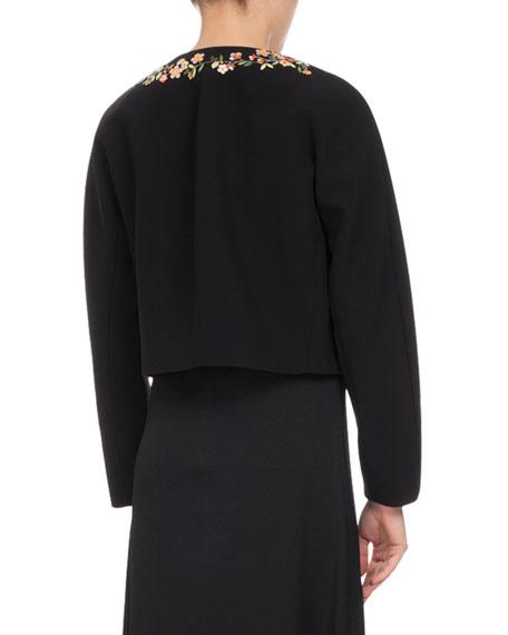 Brett Floral-Embroidered Jacket, Black