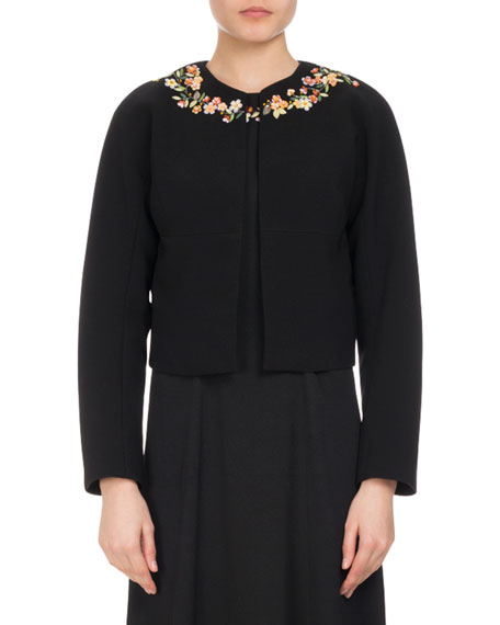 Altuzarra Brett Floral-Embroidered Jacket, Black and Matching