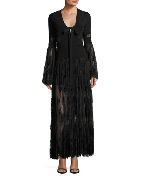 Elie Saab Lace & Knit Bell-Sleeve Evening Dress,