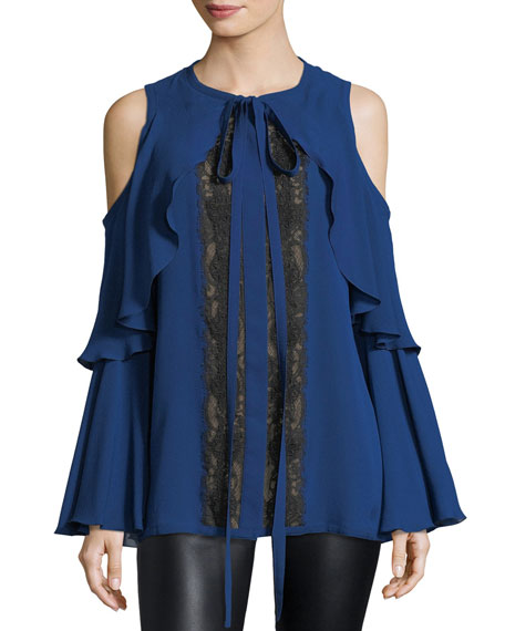 Elie Saab Cold-Shoulder Lace-Inset Top