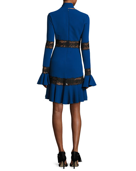 Long-Sleeve Lace-Inset Cocktail Dress with Necktie, Pansy