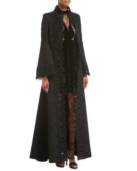 Macramé-Trim Long Dress Coat, Black