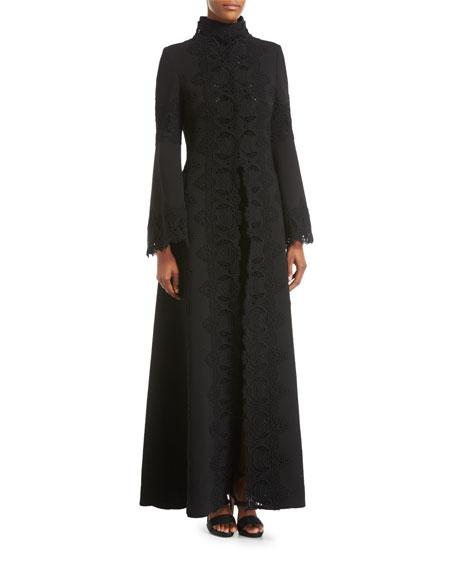 Elie Saab Macram??-Trim Long Dress Coat