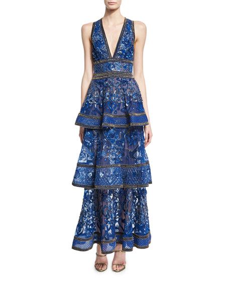 Elie Saab Embroidered Sleeveless Tiered Gown