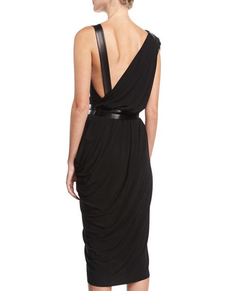 Asymmetric Drape Dress with Plonge Trim, Black