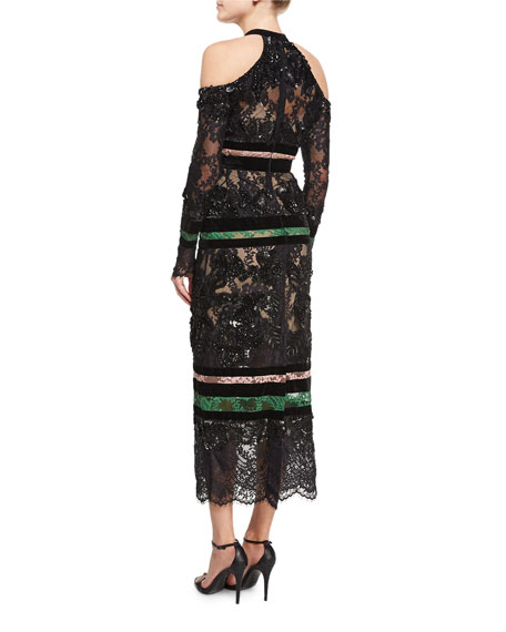Beaded Lace Cold-Shoulder Dress, Black