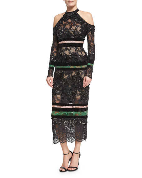 Elie Saab Beaded Lace Cold-Shoulder Dress, Black