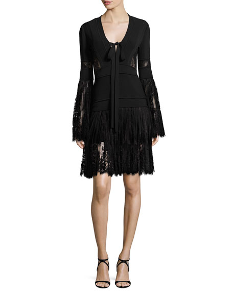 Lace & Knit Bell-Sleeve Cocktail Dress, Black