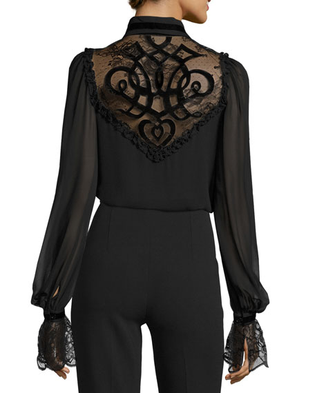 Lace-Yoke Tie-Neck Blouse with Velvet Trim, Black