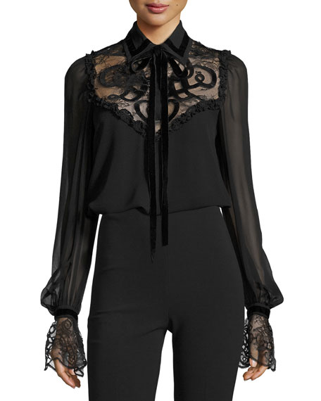 Elie Saab Lace-Yoke Tie-Neck Blouse with Velvet Trim,