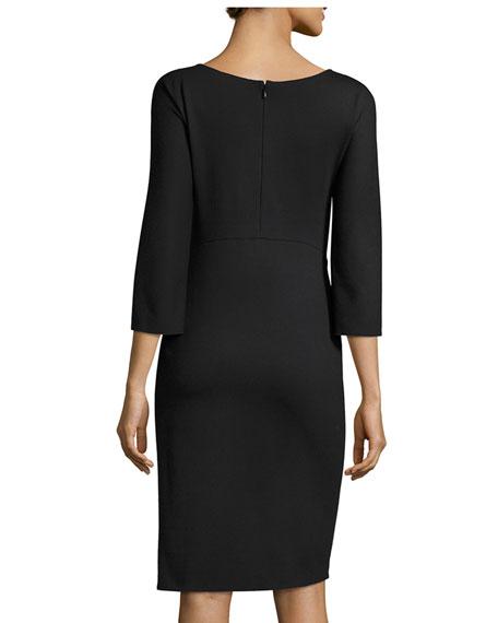 Milano Jersey Faux-Wrap 3/4-Sleeve Dress, Black
