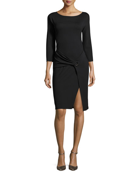 Armani Collezioni Milano Jersey Faux-Wrap 3/4-Sleeve Dress, Black