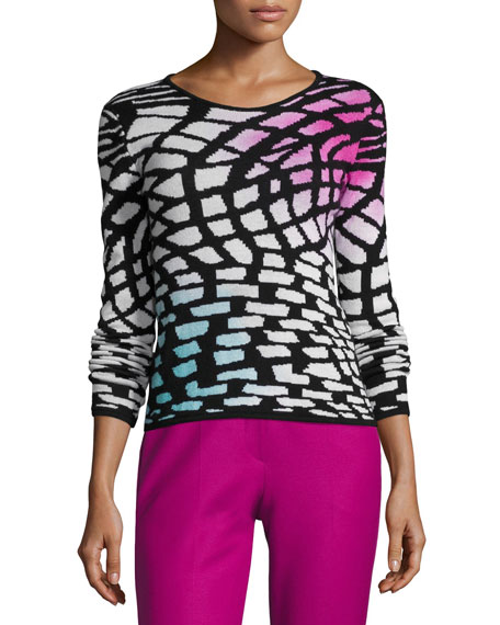 Intarsia Wool-Cashmere Sweater, Multicolor