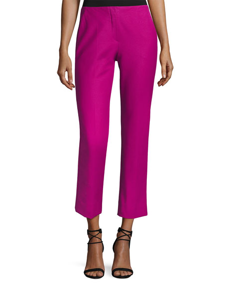 Armani Collezioni Tech Stretch-Cotton Slim Cropped Pants, Pink