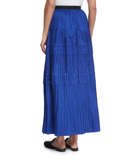 Tiered Pleated Silk Maxi Skirt, Blue