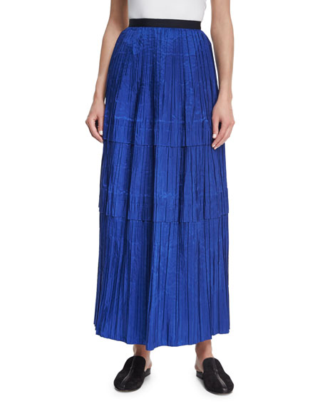 Oscar de la Renta Tiered Pleated Silk Maxi