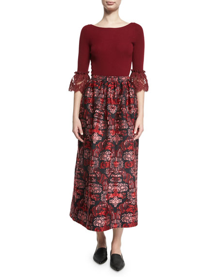 Jacquard Tea-Length Midi Skirt, Red/Blue Pattern