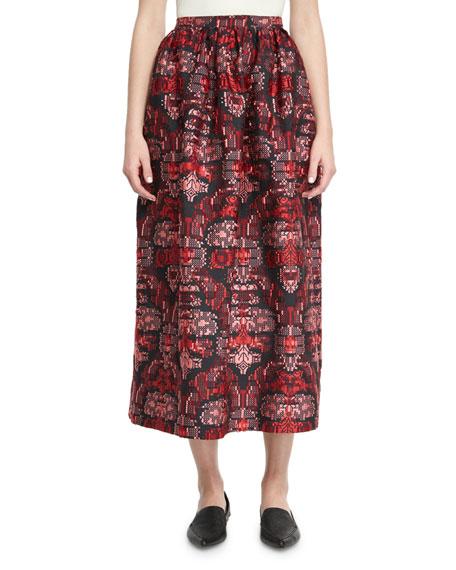 Oscar de la Renta Jacquard Tea-Length Midi Skirt,