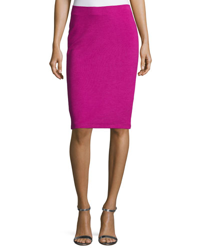 Ottoman Ribbed Jersey Pencil Skirt