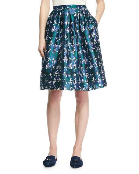 Houndstooth Floral Jacquard Skirt, Blue