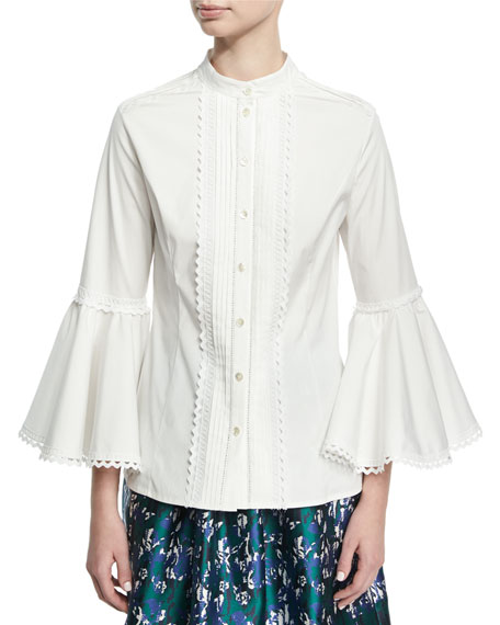 Bell-Sleeve Lace-Trim Shirt, White
