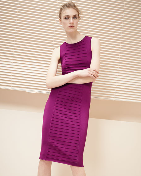 Piped Sleeveless Knit Sheath Dress