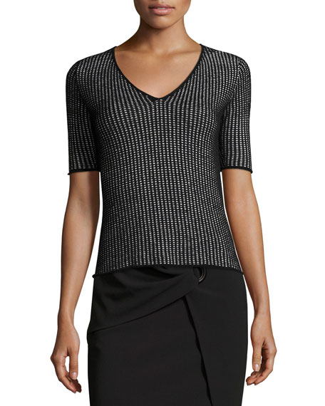 Chenille Knit Check V-Neck T-Shirt, Black/White