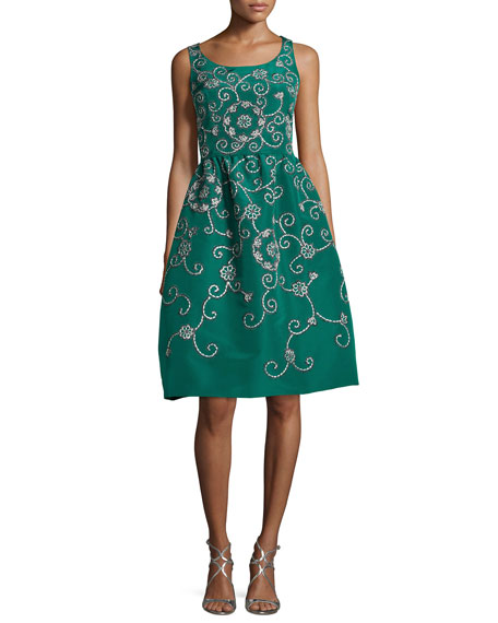 Oscar de la Renta Embroidered Floral Scroll Full-Skirt